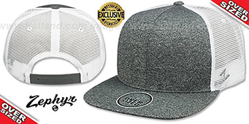 Blank OVER-SIZED MESH-BACK SNAPBACK Heather Charcoal-White Hat by Zephyr