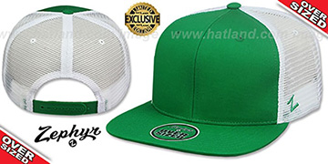 Blank OVER-SIZED MESH-BACK SNAPBACK Kelly-White Hat by Zephyr
