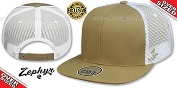 Blank OVER-SIZED MESH-BACK SNAPBACK Khaki-White Hat by Zephyr