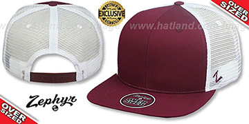Blank OVER-SIZED MESH-BACK SNAPBACK Maroon-White Hat by Zephyr