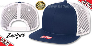 Blank OVER-SIZED MESH-BACK SNAPBACK Navy-White Hat by Zephyr