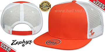 Blank OVER-SIZED MESH-BACK SNAPBACK Orange-White Hat by Zephyr