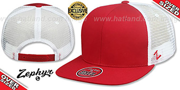 Blank 'OVER-SIZED MESH-BACK SNAPBACK' Red-White Hat by Zephyr