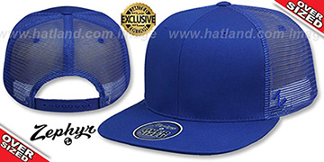 Blank OVER-SIZED MESH-BACK SNAPBACK Royal-Royal Hat by Zephyr