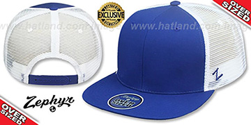 Blank OVER-SIZED MESH-BACK SNAPBACK Royal-White Hat by Zephyr