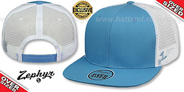 Blank OVER-SIZED MESH-BACK SNAPBACK Sky-White Hat by Zephyr