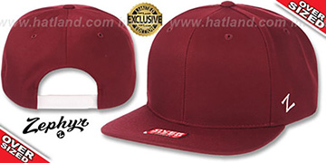 Blank OVER-SIZED SNAPBACK Burgundy Hat by Zephyr