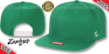 Blank OVER-SIZED SNAPBACK Kelly Green Hat by Zephyr