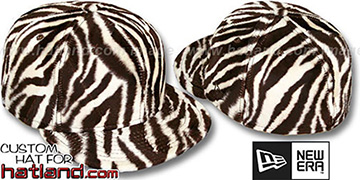 Blank 'ZEBRA PIMPIN-FUR' Bone-Brown Fitted Hat by New Era