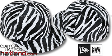 Blank 'ZEBRA PIMPIN-FUR' White-Black Fitted Hat by New Era