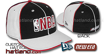 Blazers NBA 'PINWHEEL-3' Black-White Fitted Hat by New Era