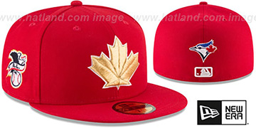 Blue Jays '2018 JULY 4TH STARS N STRIPES' Red Fitted Hat by New Era