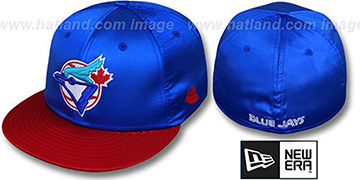 Blue Jays 2T COOP SATIN CLASSIC Royal-Red Fitted Hat by New Era