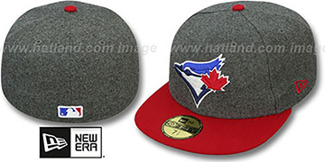 Blue Jays '2T MELTON-BASIC' Grey-Red Fitted Hat by New Era