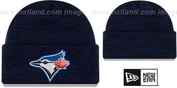 Blue Jays 'BEVEL' Royal-Black Knit Beanie Hat by New Era
