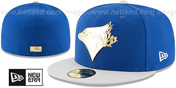 Blue Jays 'GOLDEN-BADGE' Royal-Grey Fitted Hat by New Era
