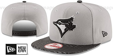 Blue Jays 'LEATHER-RIP SNAPBACK' Grey-Black Hat by New Era