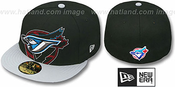 Blue Jays NEW MIXIN Black-Grey Fitted Hat by New Era