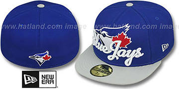 Blue Jays SCRIPT-PUNCH Royal-Grey Fitted Hat by New Era