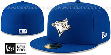 Blue Jays SILVER SHATTERED METAL-BADGE Royal Fitted Hat by New Era
