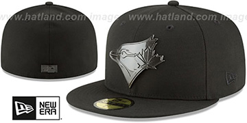 Blue Jays 'SLEEKED BLACK METAL-BADGE' Black Fitted Hat by New Era
