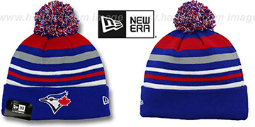 Blue Jays 'STRIPEOUT' Knit Beanie Hat by New Era