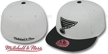 Blues 'MONOCHROME XL-LOGO' Grey-Black Fitted Hat by Mitchell & Ness