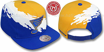 Blues PAINTBRUSH SNAPBACK Gold-White-Royal Hat by Mitchell & Ness