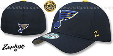 Blues SHOOTOUT Navy Fitted Hat by Zephyr