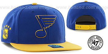 Blues 'SURE-SHOT SNAPBACK' Royal-Gold Hat by Twins 47 Brand