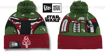 Boba Fett 'GALLACTIC BIGGIE' Green-Burgundy Knit Beanie Hat by New Era