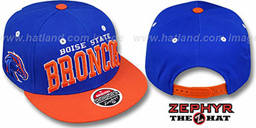 Boise State 2T SUPER-ARCH SNAPBACK Royal-Orange Hat by Zephyr