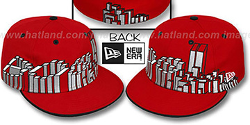 Boston BOS BLOCK CITY-SKYLINE Red Fitted Hat by New Era