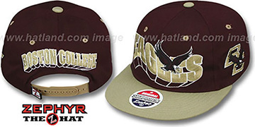 Boston College 2T FLASHBACK SNAPBACK Burgundy-Gold Hat by Zephyr