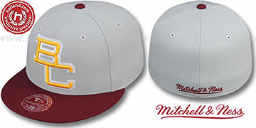 Boston College '2T XL-LOGO' Grey-Burgundy Fitted Hat by Mitchell & Ness