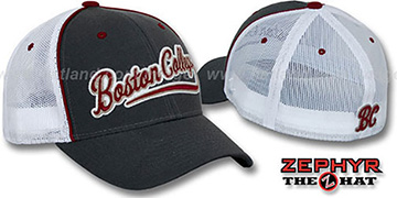 Boston College 'SCRIPT-MESH' Fitted Hat by Zephyr - grey-white