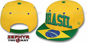 Brasil SUPERSTAR SNAPBACK Gold Hat by Zephyr