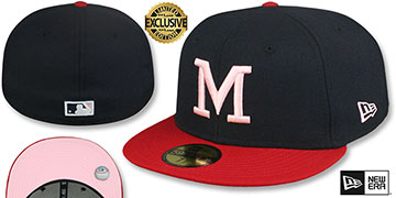 Braves 1965 COOPERSTOWN PINK LOGO BOTTOM Fitted Hat by New Era