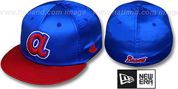 Braves '2T COOP SATIN CLASSIC' Royal-Red Fitted Hat by New Era