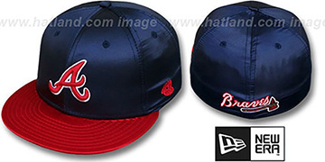 Braves '2T SATIN CLASSIC' Navy-Red Fitted Hat by New Era