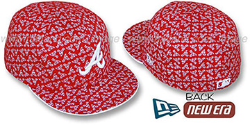 Braves A 'ALL-OVER FLOCKING' Red-White Fitted Hat by New Era