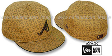 Braves A ALL-OVER FLOCKING Wheat-Brown Fitted Hat by New Era