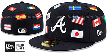 Braves 'ALL-OVER COUNTRY FLAGS' Navy Fitted Hat by New Era