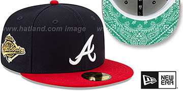 Braves BANDANA KELLY BOTTOM Navy-Red Fitted Hat by New Era