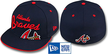 Braves BIG-SCRIPT Navy Fitted Hat by New Era