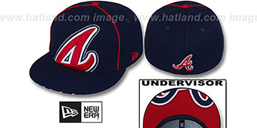 Braves BIG-UNDER Navy Fitted Hat by New Era