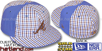 Braves 'BLUE BONNETT' Plaid-Light Blue Fitted Hat by New Era