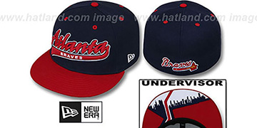Braves CITY-SCRIPT Navy-Red Fitted Hat by New Era