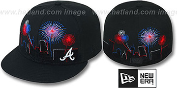 Braves 'CITY-SKYLINE FIREWORKS' Black Fitted Hat by New Era