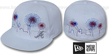 Braves CITY-SKYLINE FIREWORKS White Fitted Hat by New Era